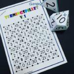 Terningspillet Gange v.1 – 0-3 Tabellerne